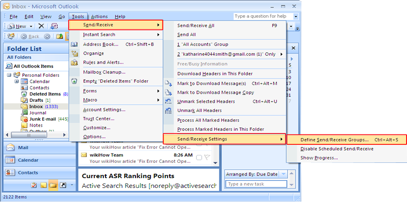 Fix Outlook Error 0x800cccdd: Step 3