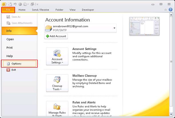 Resolve Outlook Error 0x800cccdd in Outlook 2010: Step1
