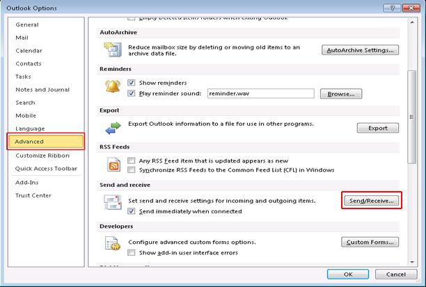 Resolve Outlook Error 0x800cccdd in Outlook 2010: Step2